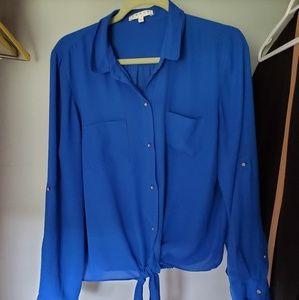 Cobalt Blue Tie Detail Blouse